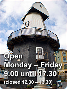Open Monday - Friday 9.00 until 17.30 (closed 12.30 - 13.30)