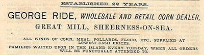 George Ride, Wholesale and retail corn dealer, Great Mill, Sheerness-on-Sea
