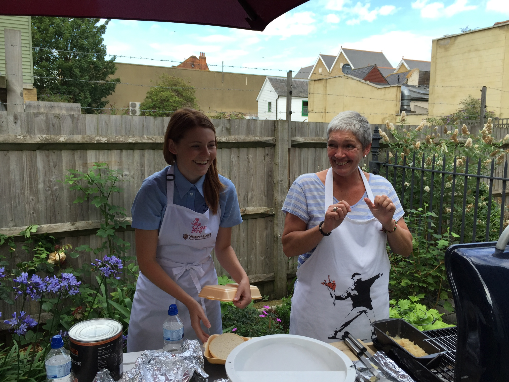 Kim and Marcia of Sharrocks - Barbecue chefs for the day